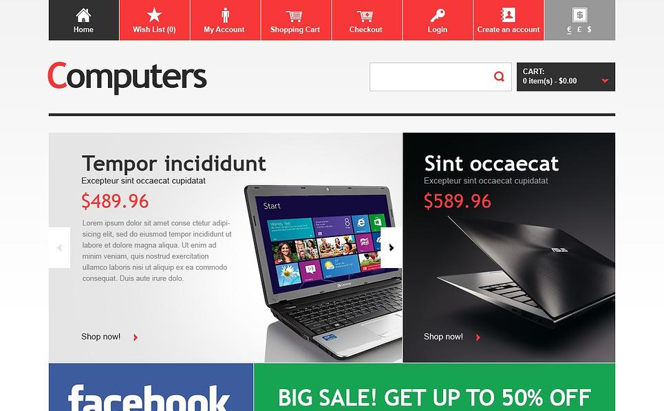 Szablon OpenCart #43803 na temat: sklep komputerowy New Screenshots BIG