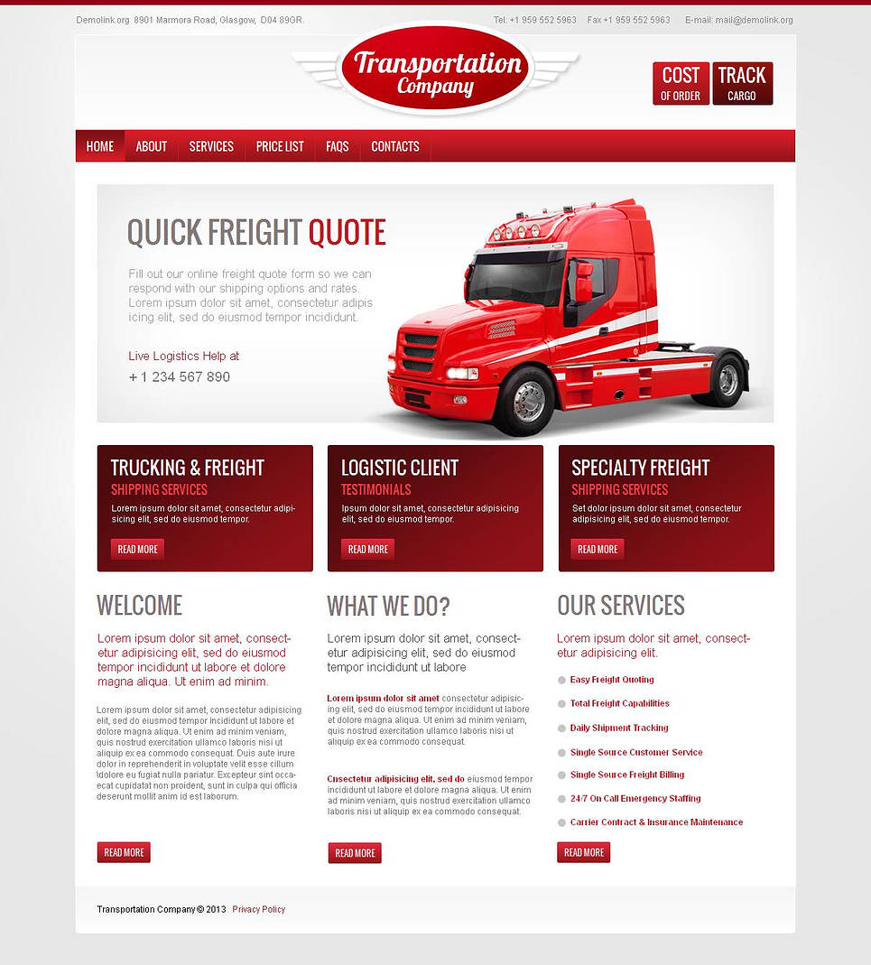 Transportation Website Template with Eye-catchy Red Design Elements - image
