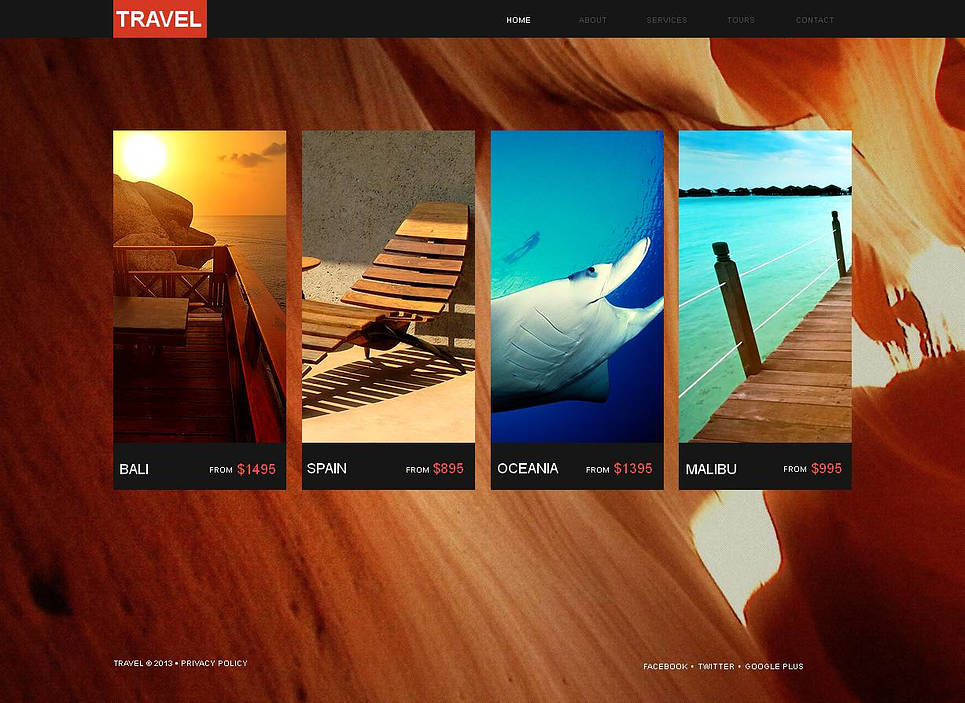 Travel Website Template with Background Photo - image