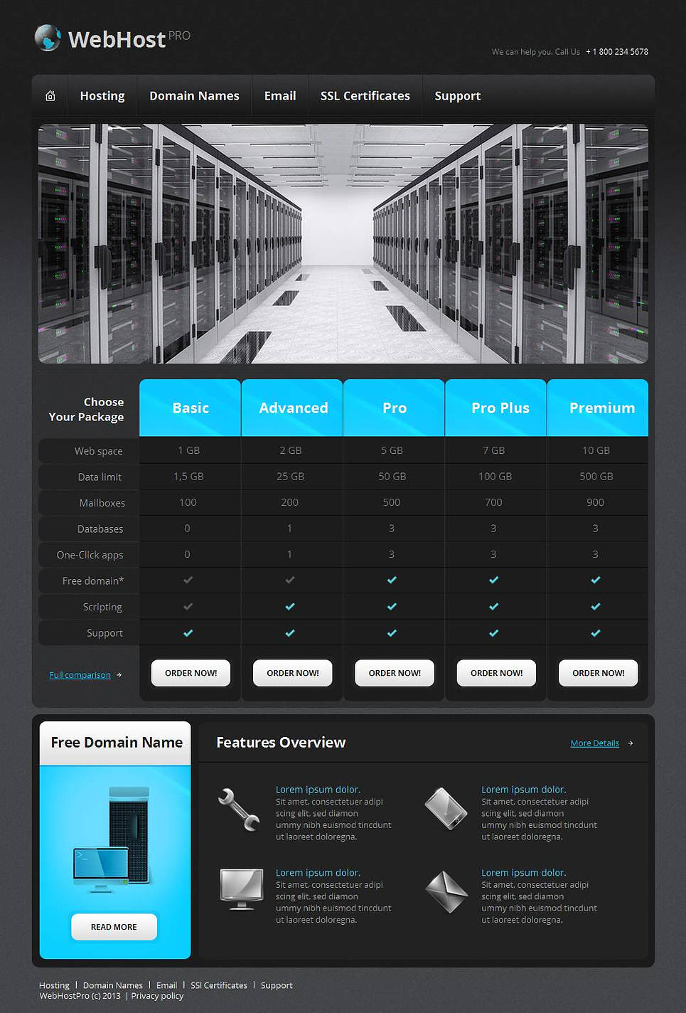Black Website Template for Web Hosting Provider - image