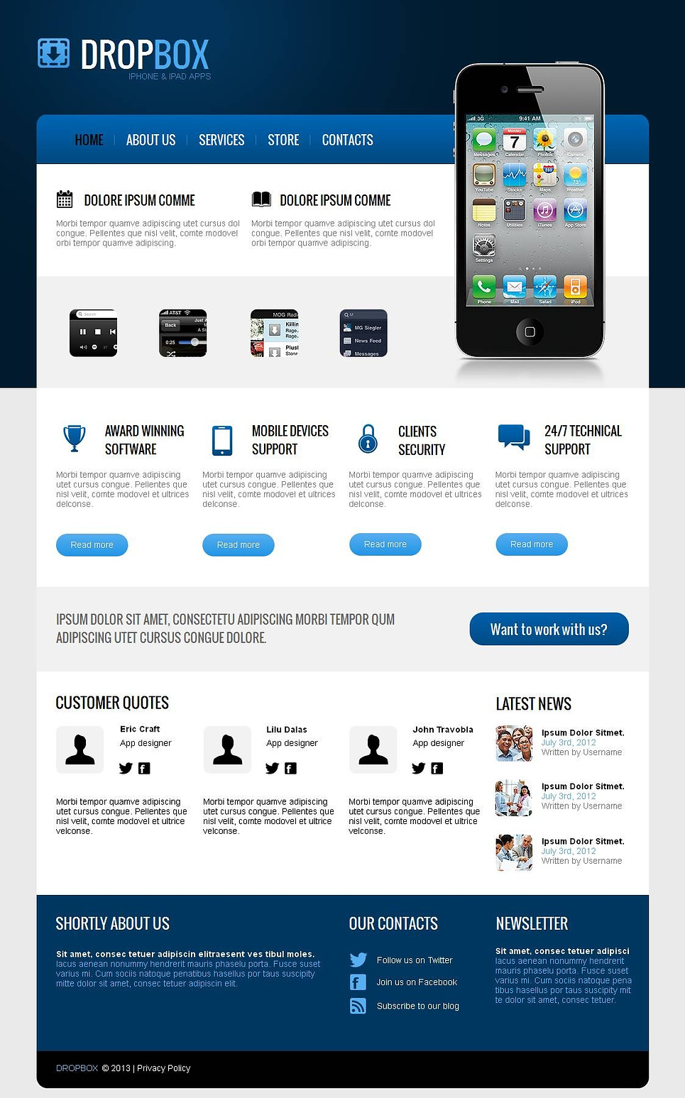 Software Web Template in Dark Blue Colors - image