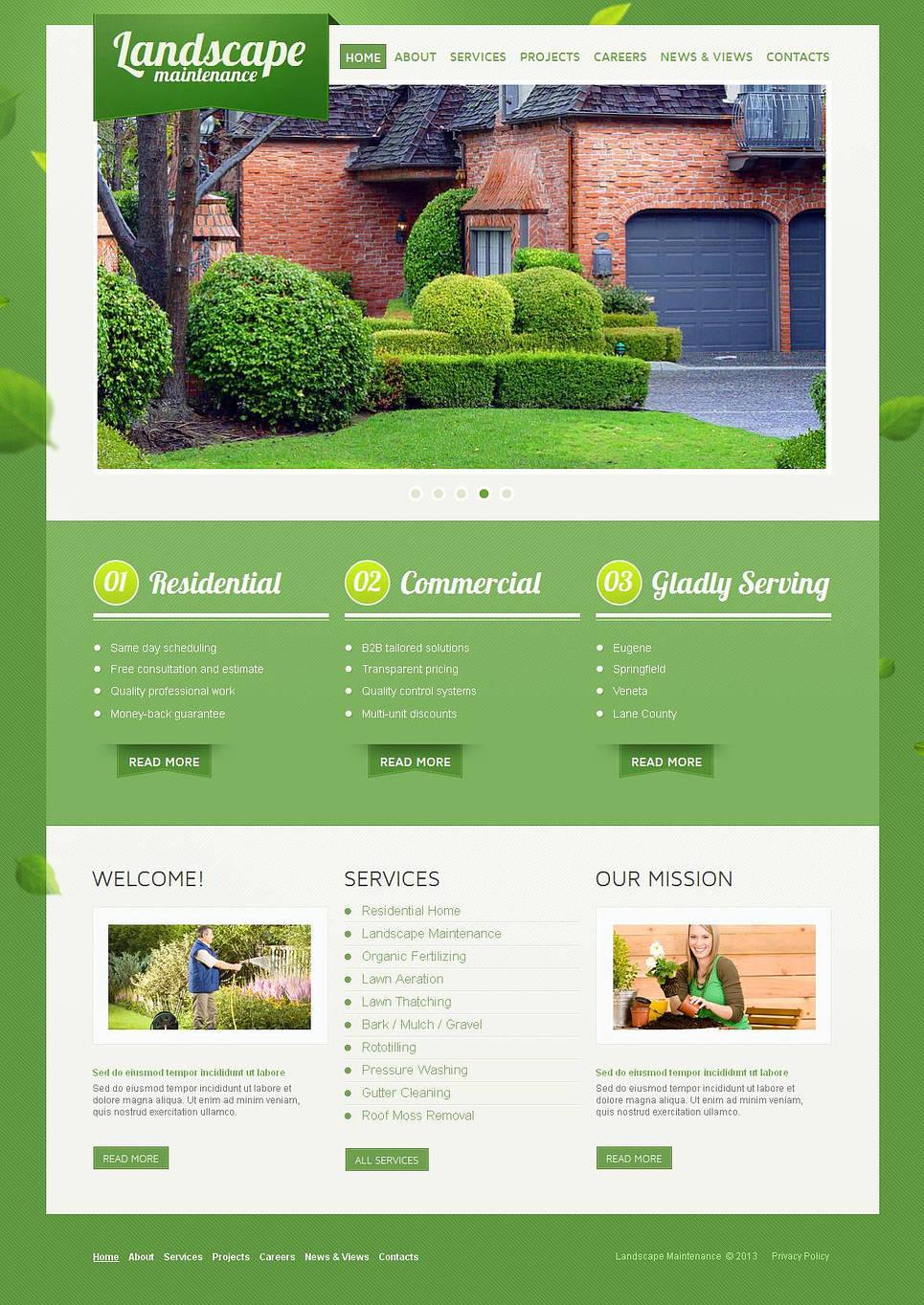 Landscape Design Website Template with Green Background - image