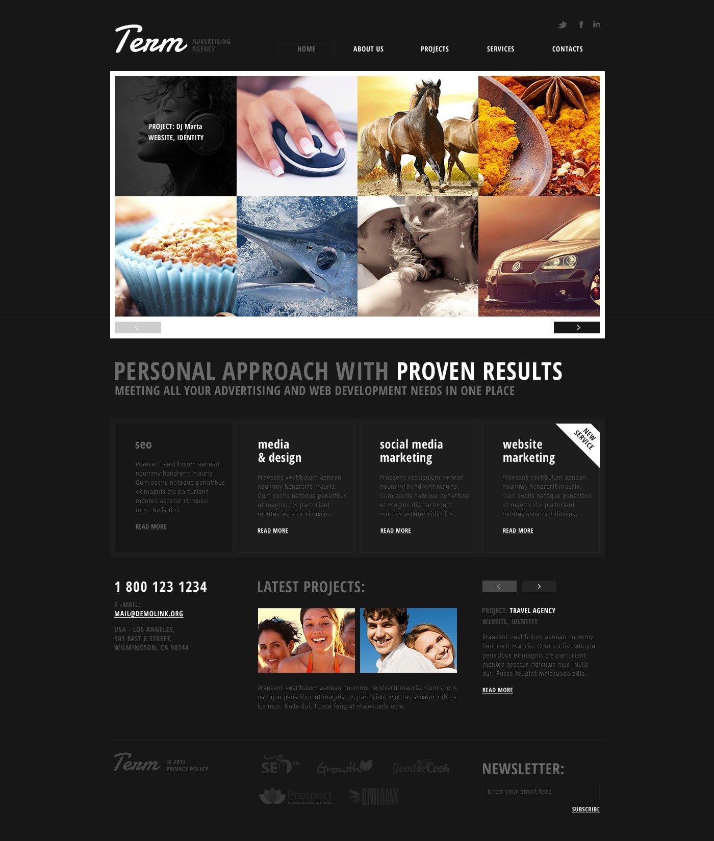 advertising agency responsive website template  43870
