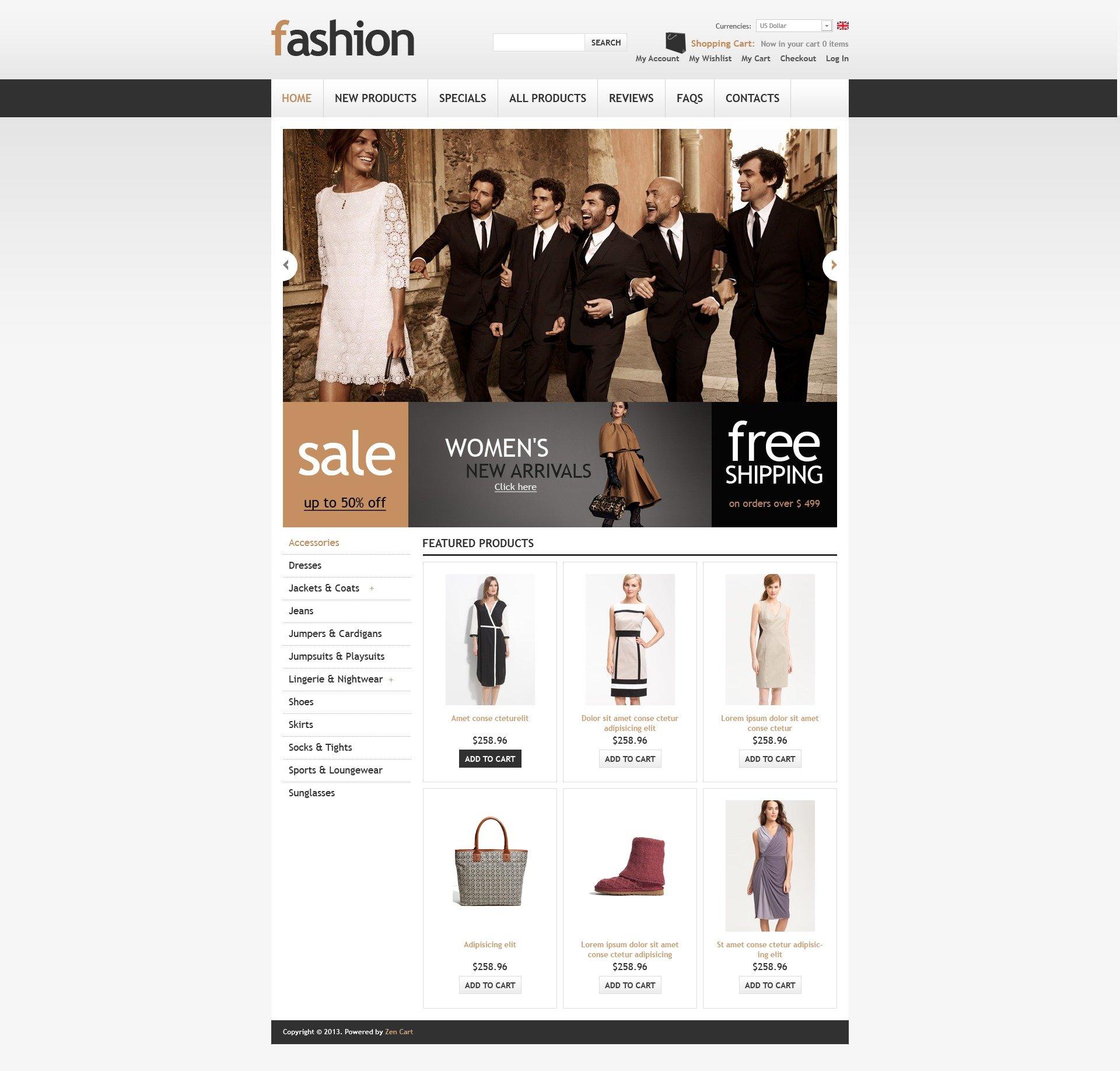 """""""Classy Fashion Store"""" ZenCart template №43889 - screenshot"""