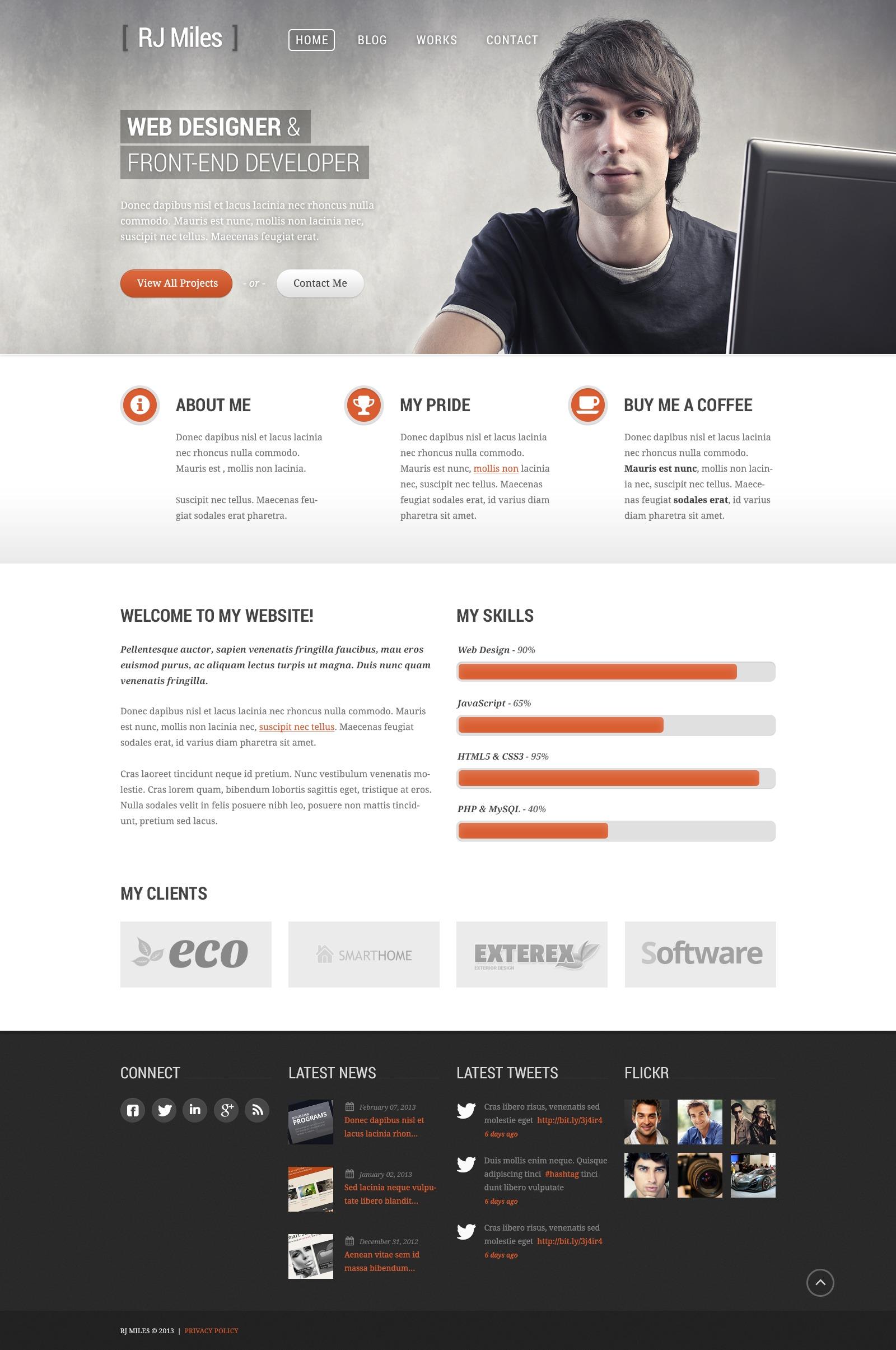 """""""Designer Portfolio"""" - адаптивний WordPress шаблон №43885 - скріншот"""