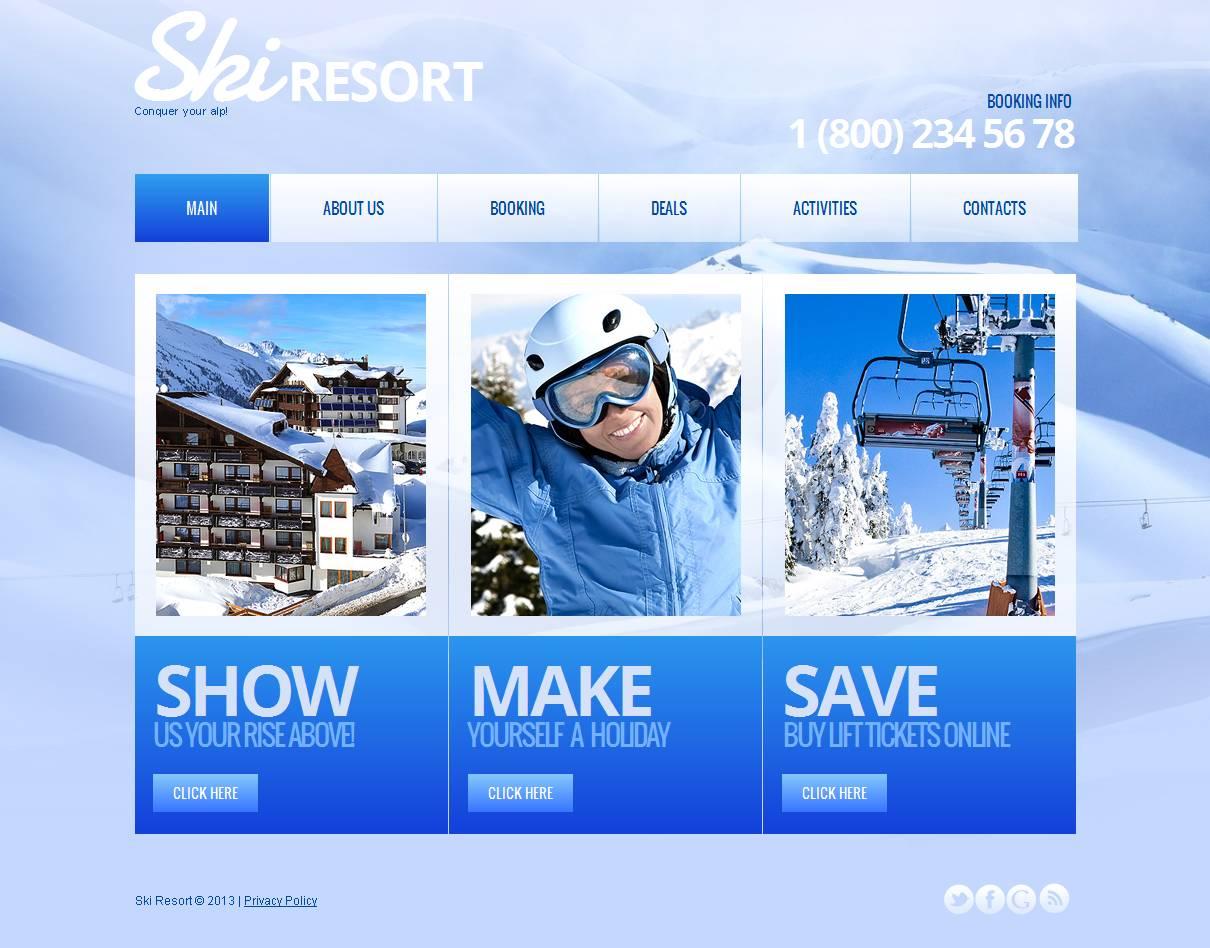 Skiing Moto CMS HTML Template