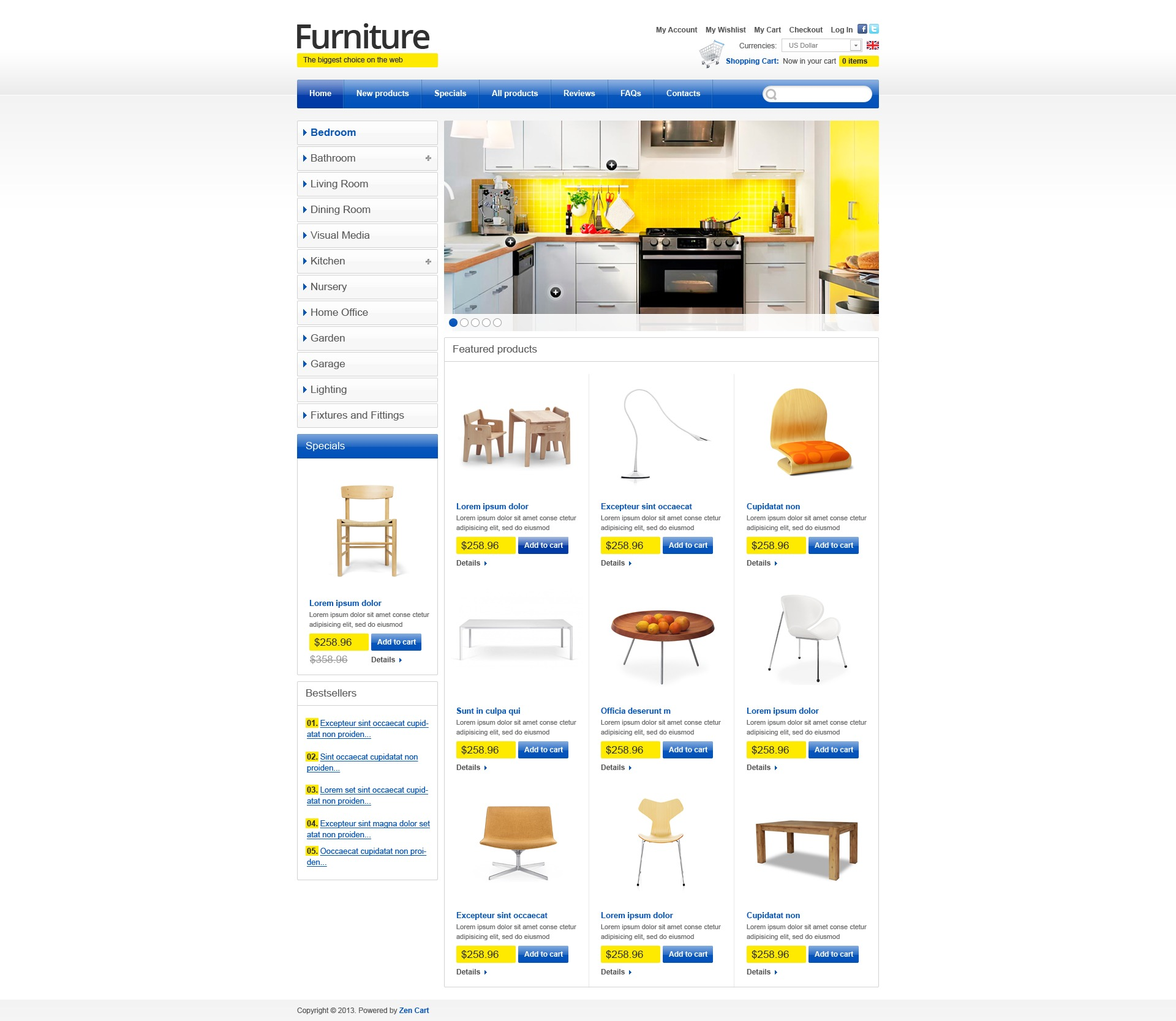 """Template ZenCart #43855 """"Furniture for Happy Life"""""""
