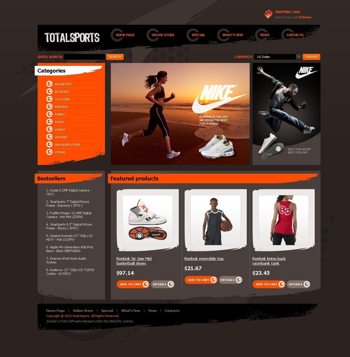 Total Sports Template VirtueMart №43891
