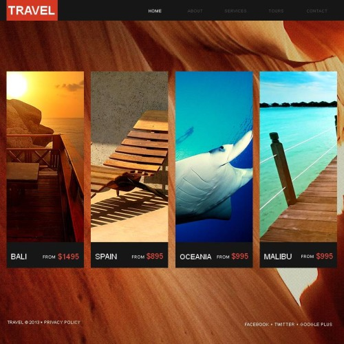 Travel  - Facebook HTML CMS Template