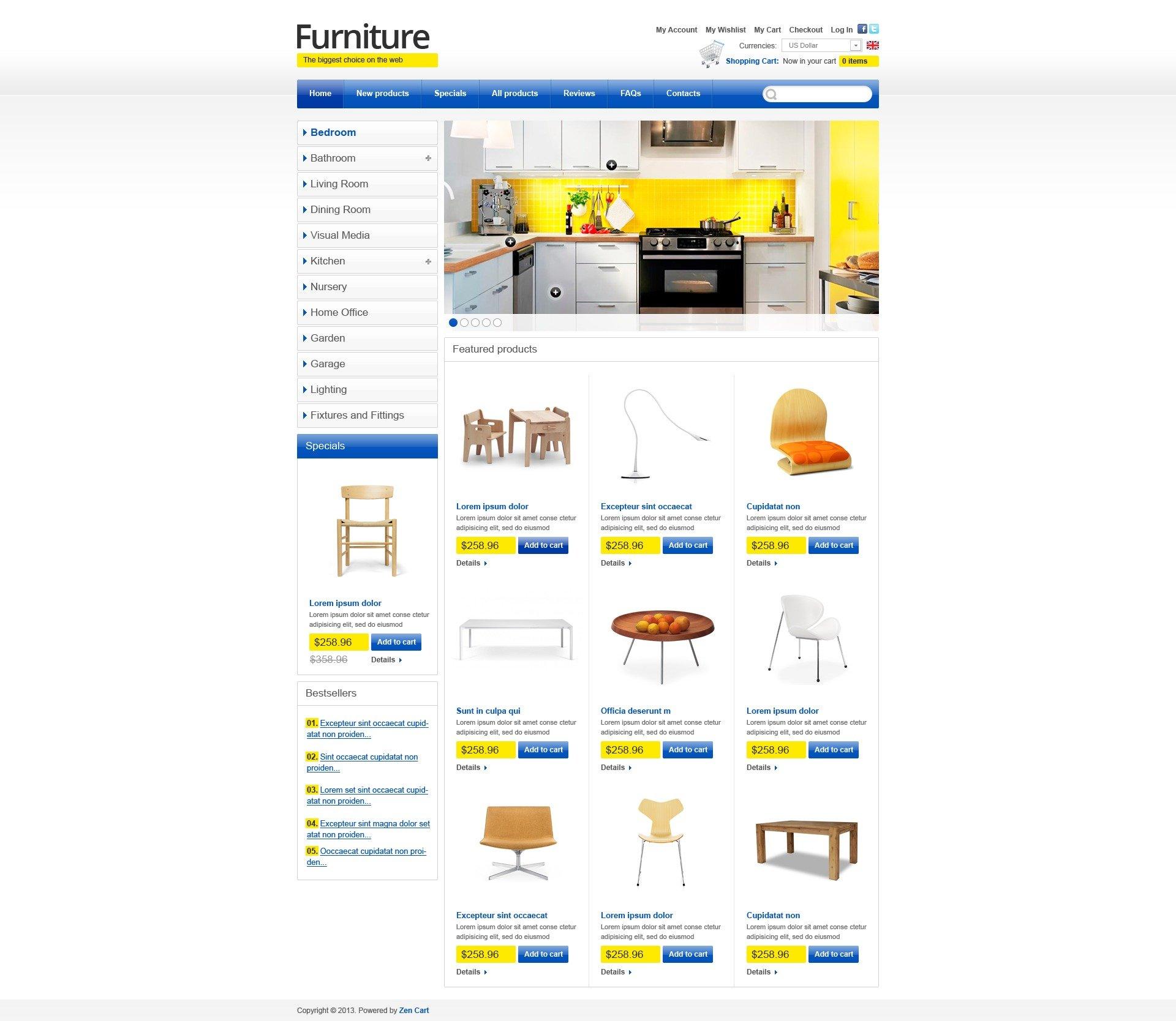 "ZenCart Vorlage namens ""Furniture for Happy Life"" #43855"