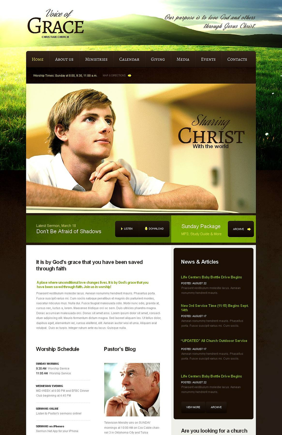 Christian Church Website Template with a Photo Background - image