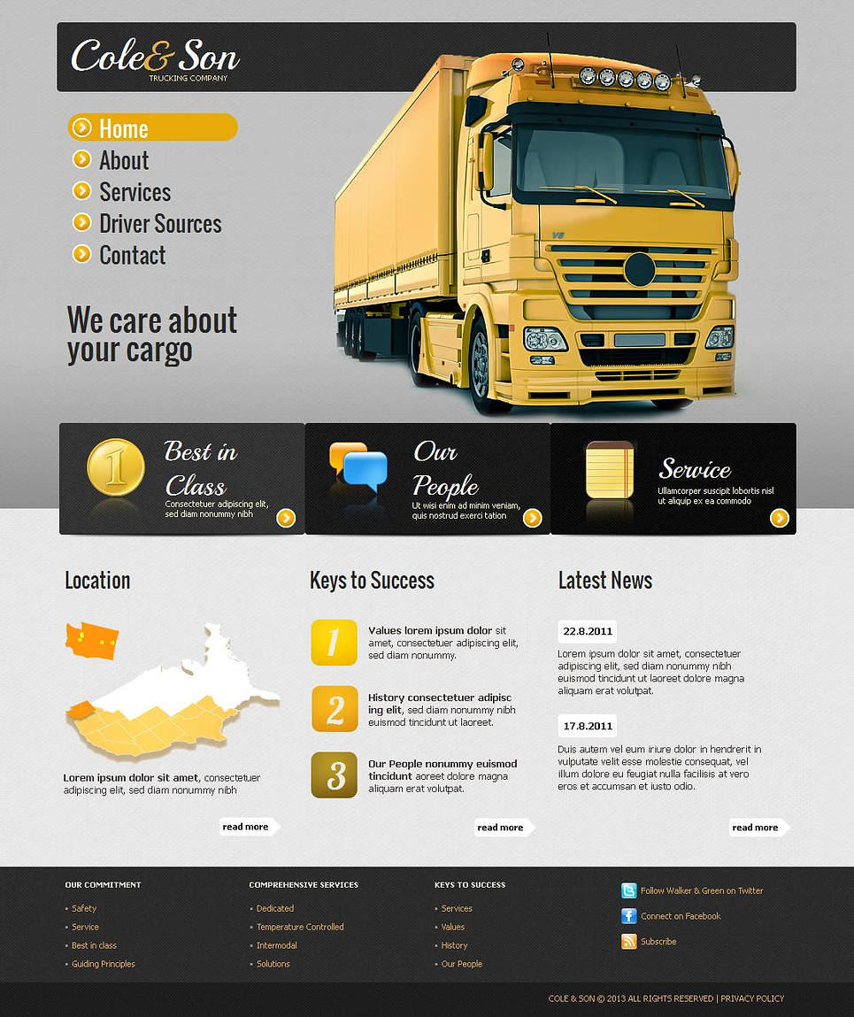 Trucking Company Website Template with Creative Navigation - image