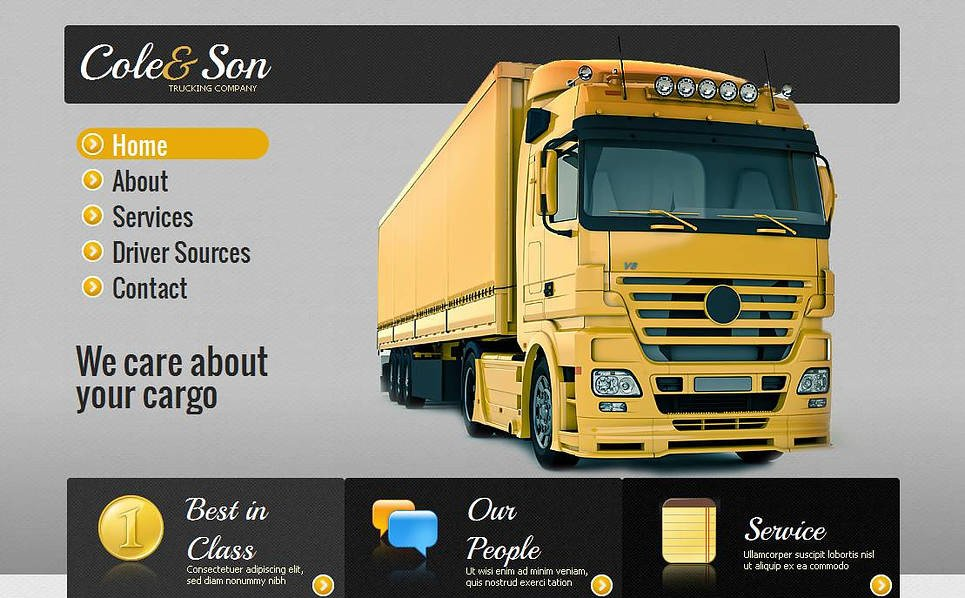 Modèle Moto CMS HTML  pour site de services de camionnage New Screenshots BIG