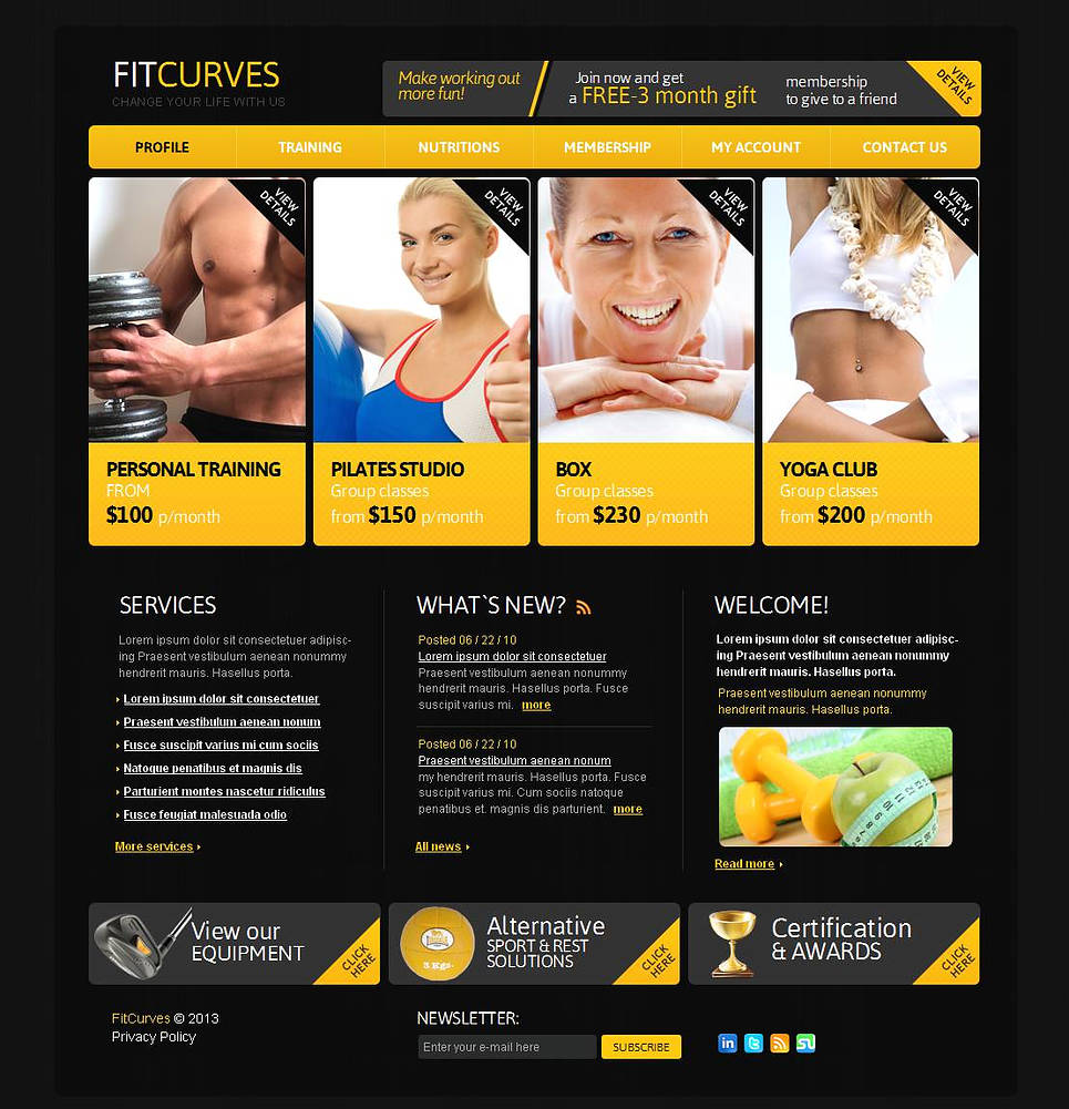 Black Website Template for Fitness Clubs - image