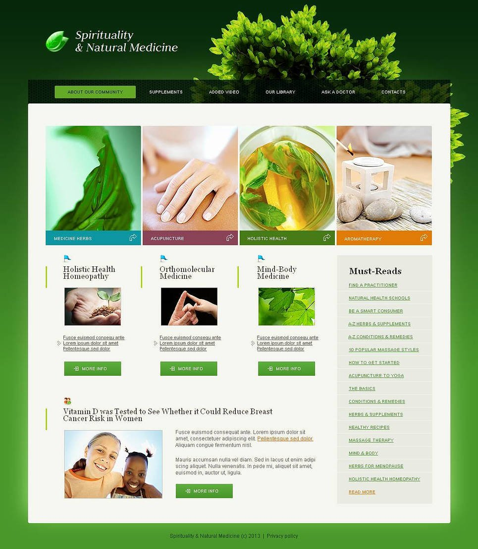 Herbal Website Template with Green Background - image