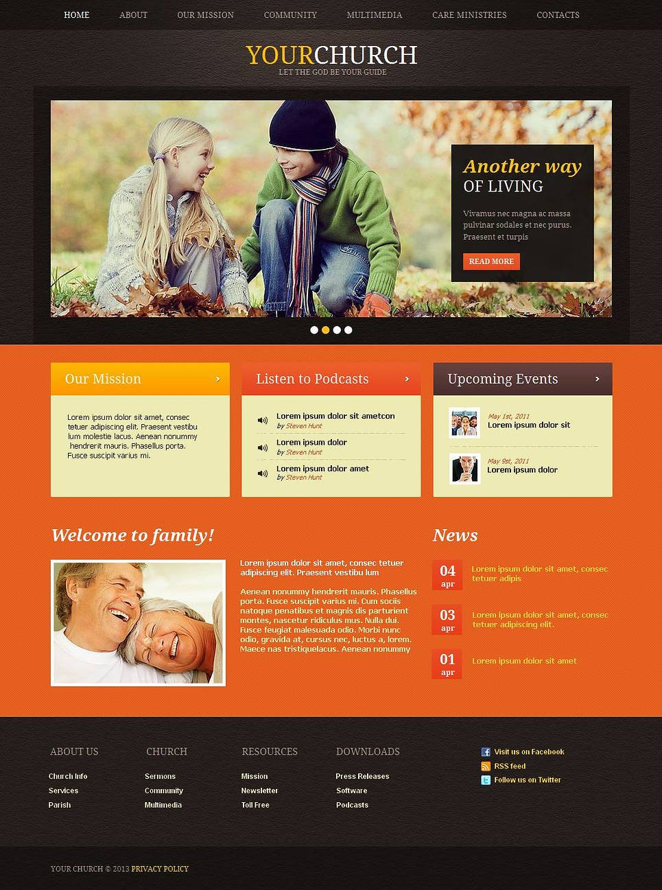Church Website Template with Leather Background - image