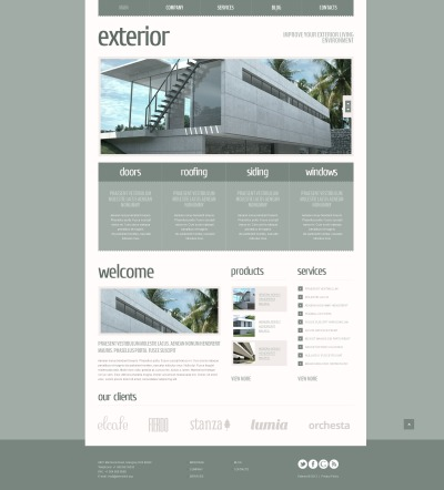 Адаптивный Joomla шаблон №43902 на тему дизайн экстерьера
