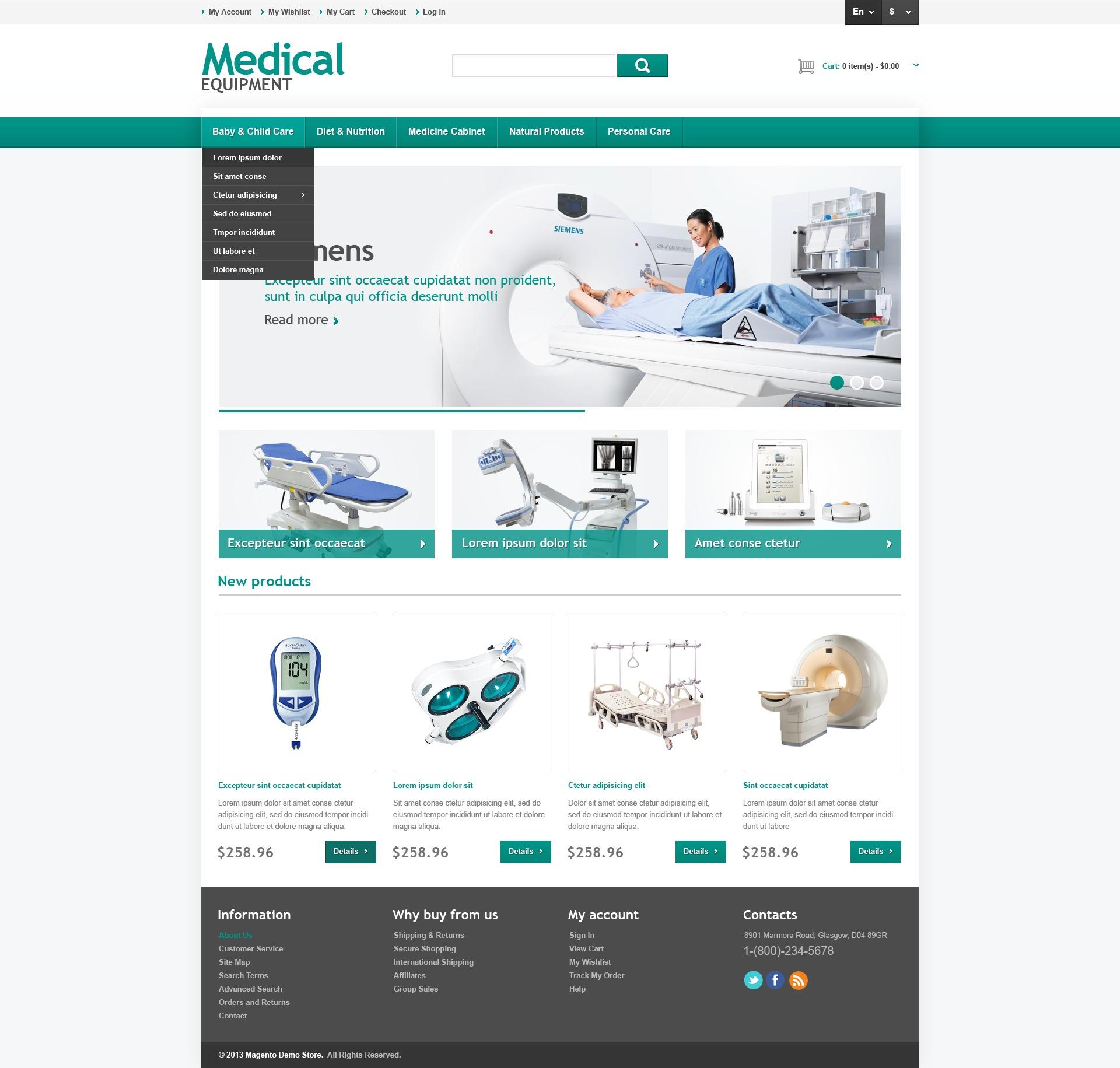 medical equipment store magento theme