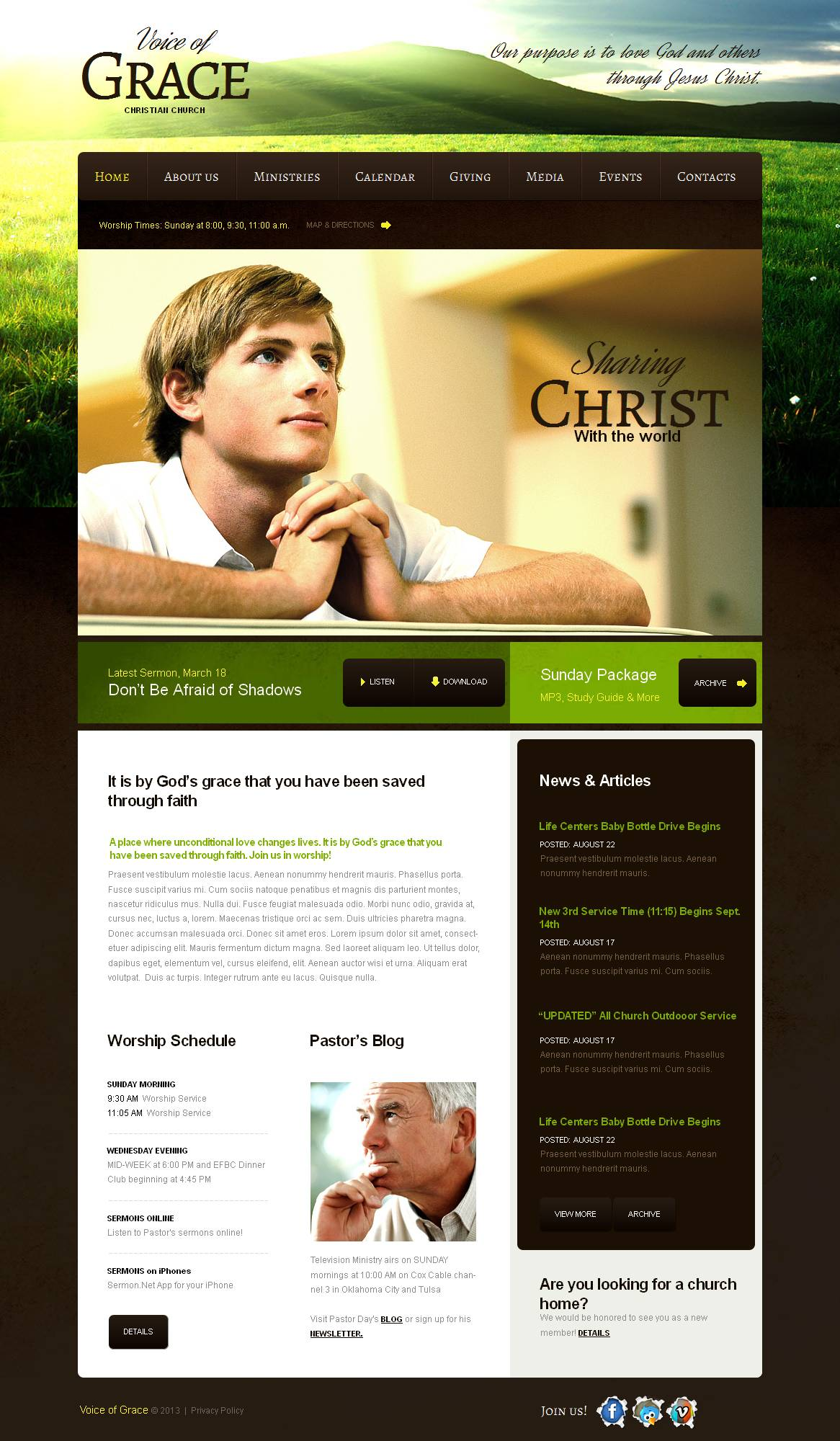 Modèle Moto CMS HTML Premium pour site chrétien #43924