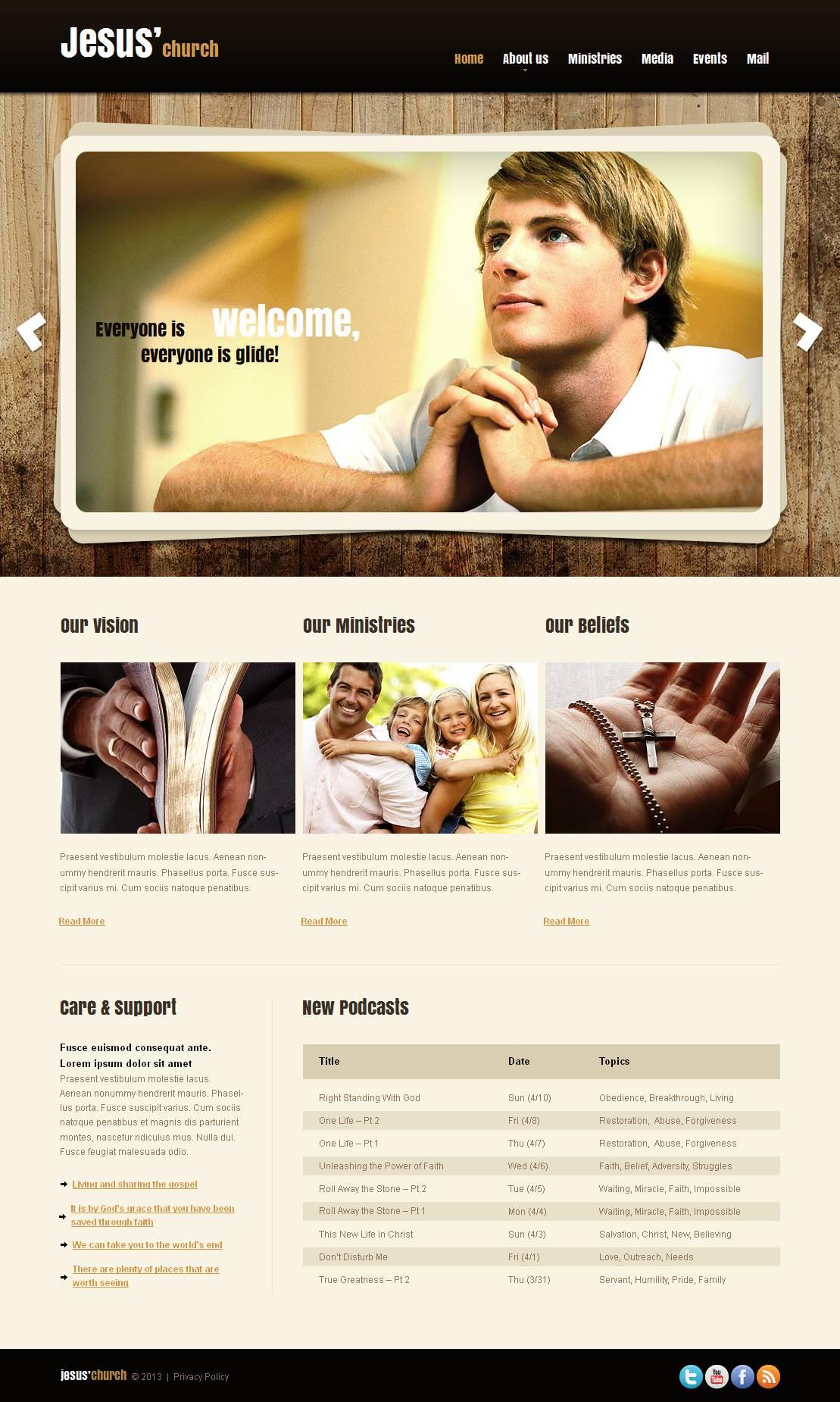 Modèle Moto CMS HTML Premium pour site chrétien #43929
