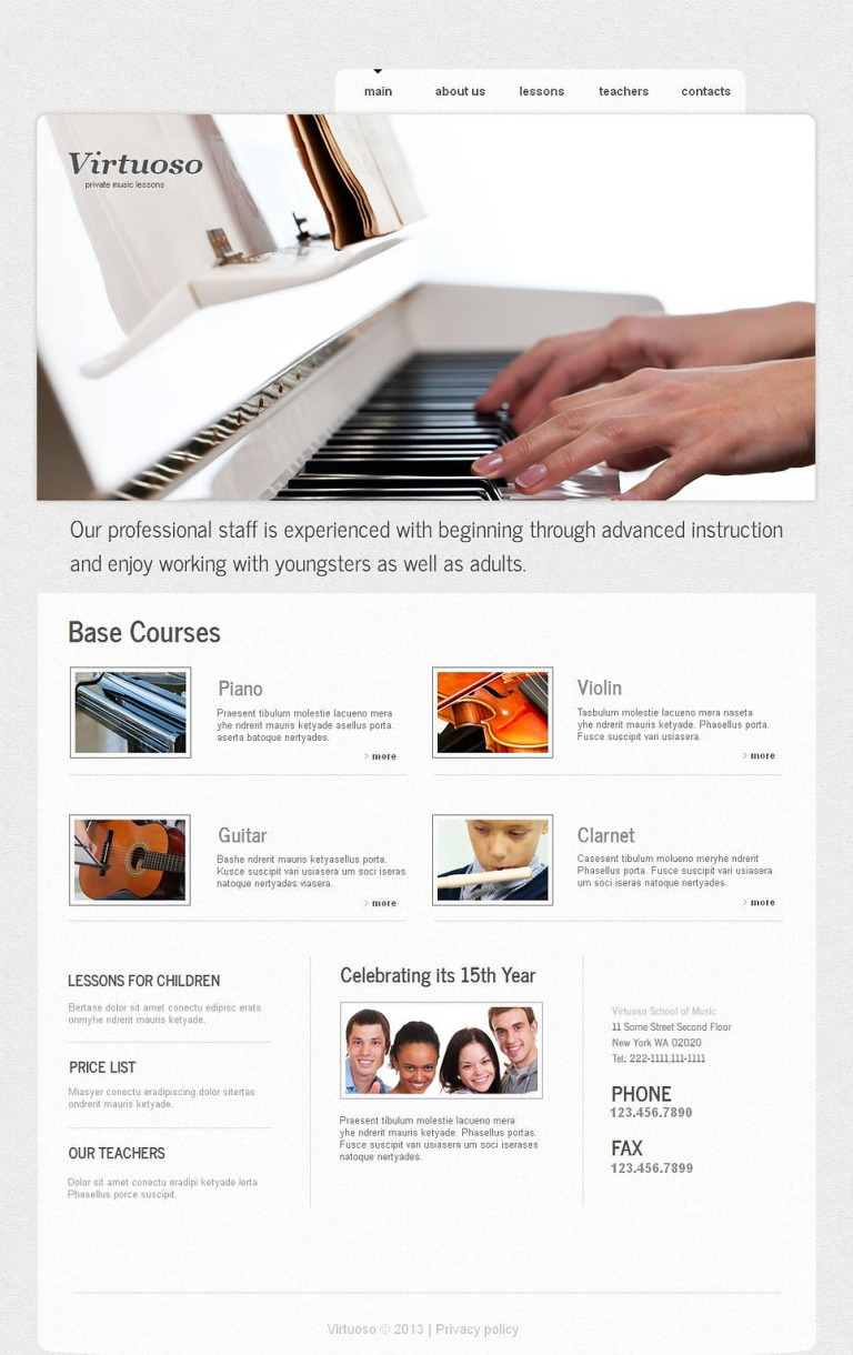 Music School Moto CMS HTML Template New Screenshots BIG