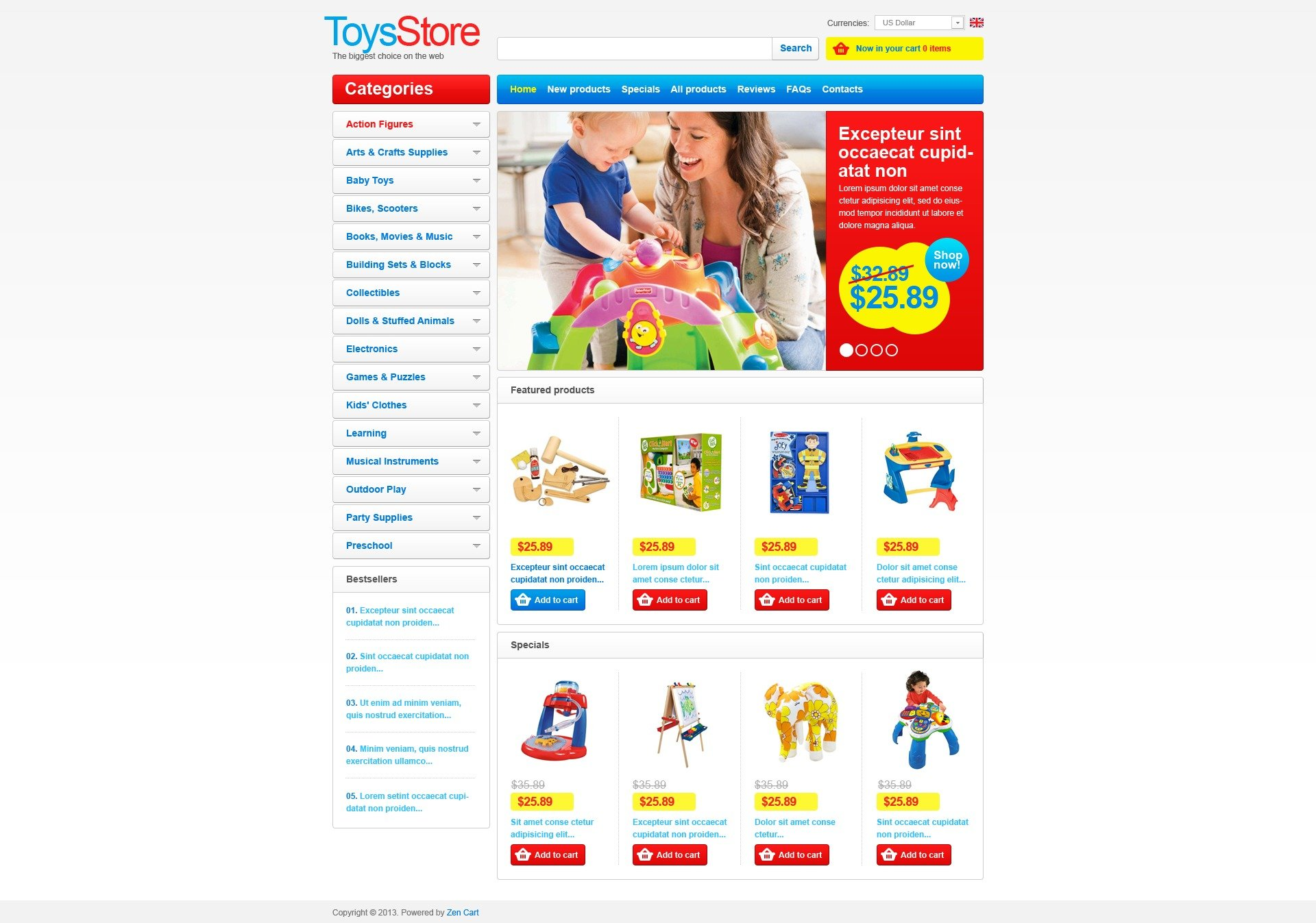 """ZenCart Vorlage namens """"Spielzeugladen"""" #43915"""