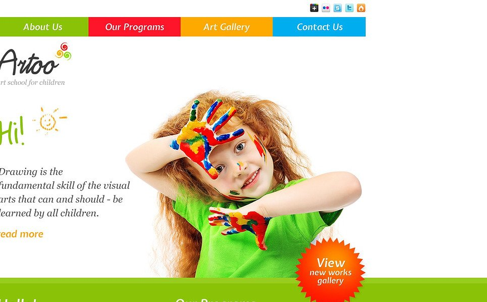 Responsive Website template over Kunst School New Screenshots BIG