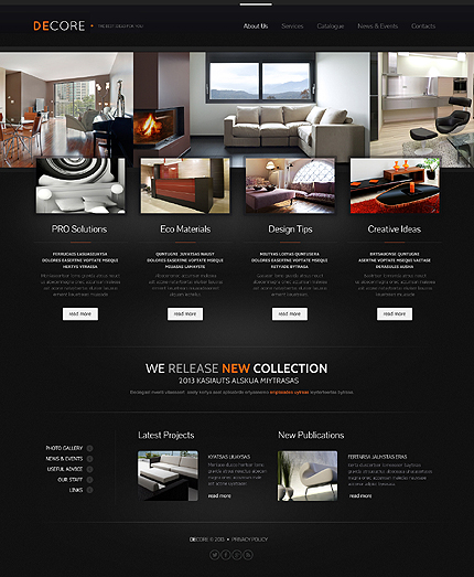 Furniture gallery free website template framer a interior.
