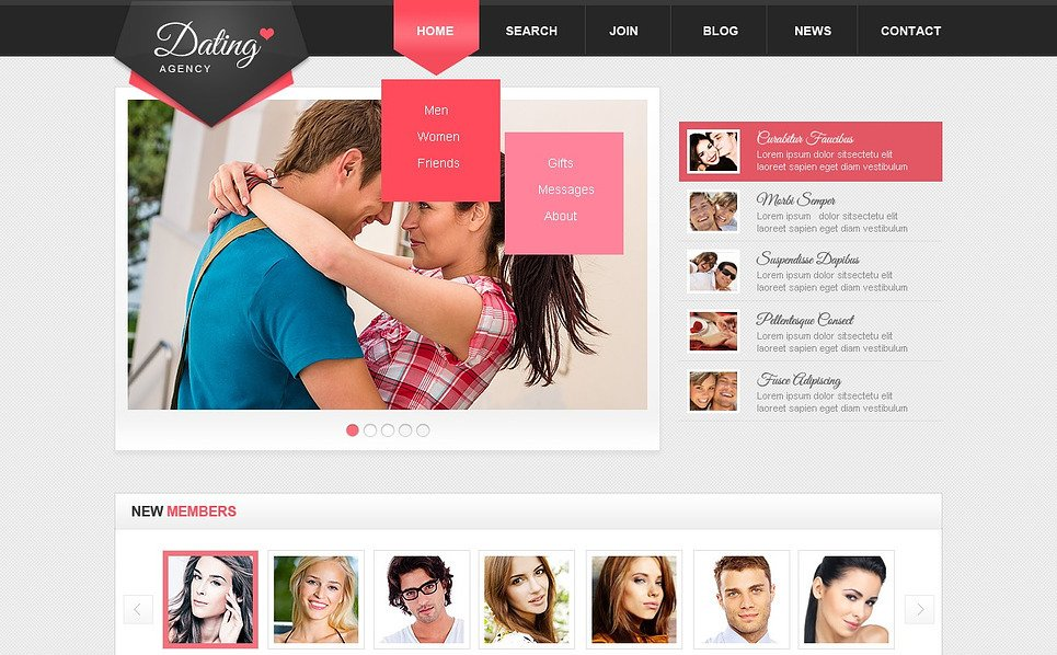 Responsive Website template over Dating  New Screenshots BIG