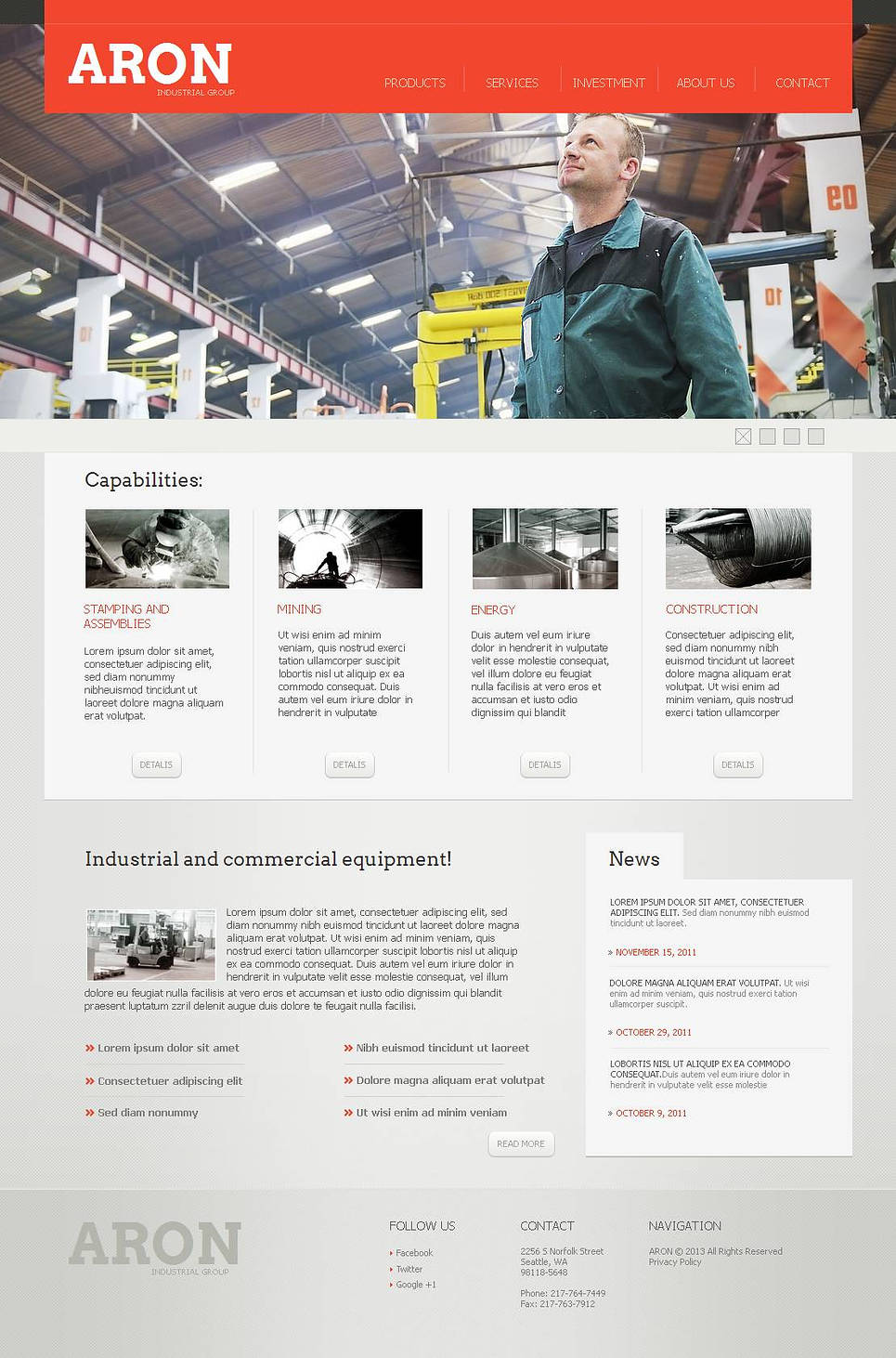 Industrial Group Web Template with a jQuery Slider - image