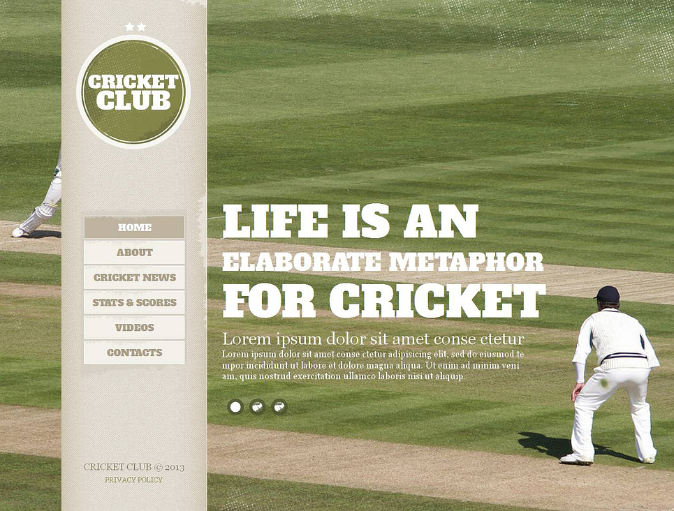 Cricket Website Template with Background Image Slider - image