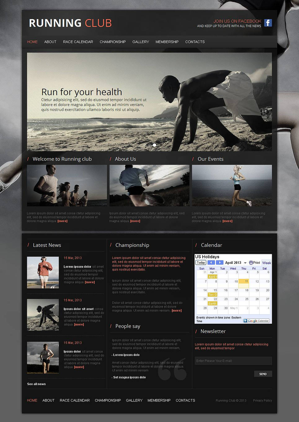 Running Website Template for Sport Fans - image