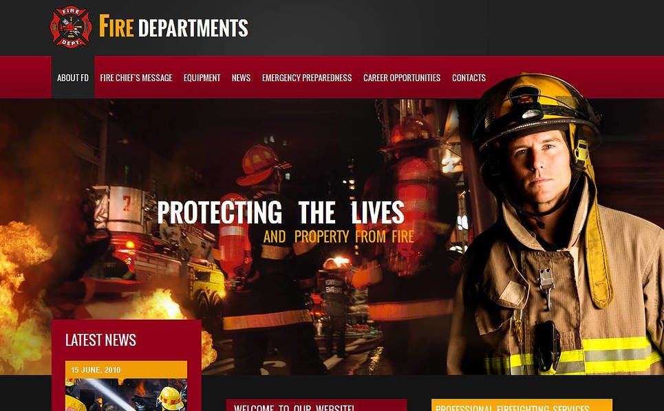 Modèle Moto CMS HTML  pour site de pompiers New Screenshots BIG