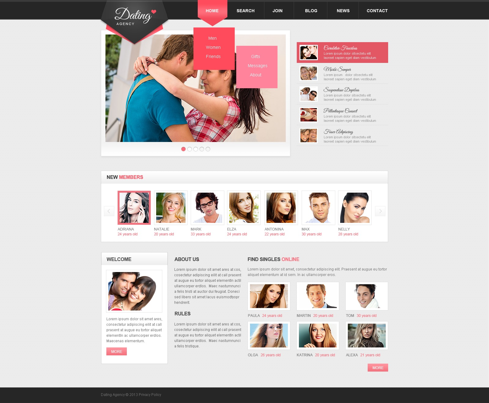 сайт знакомств на html