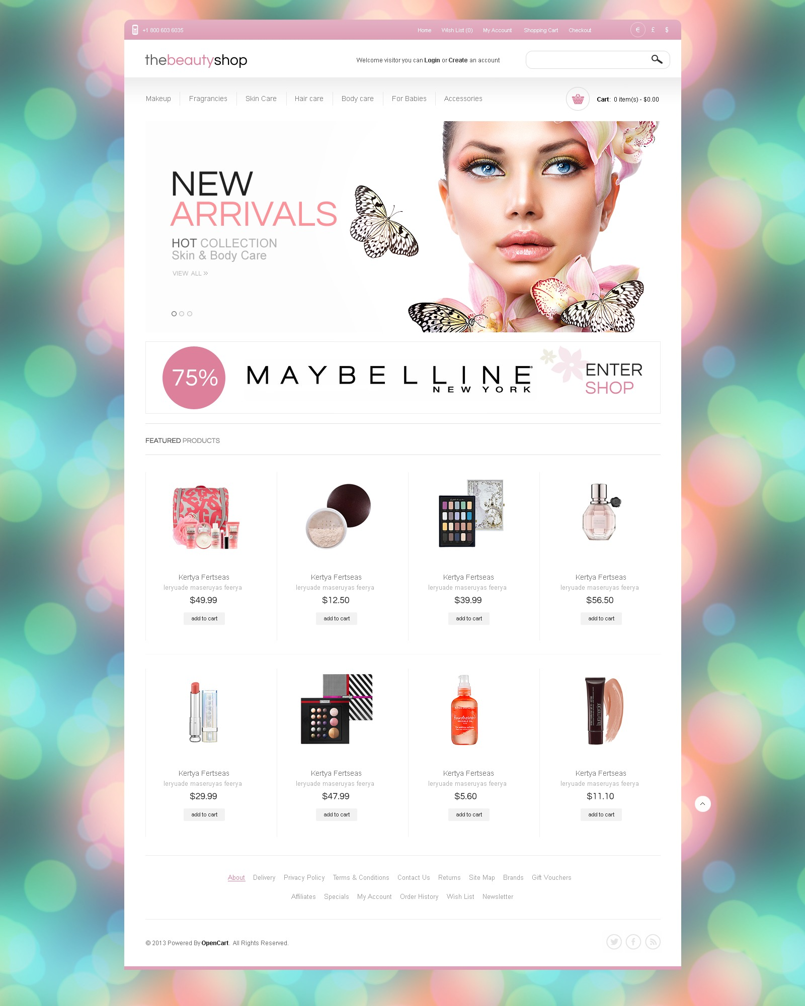Beauty Shop OpenCart Template - screenshot