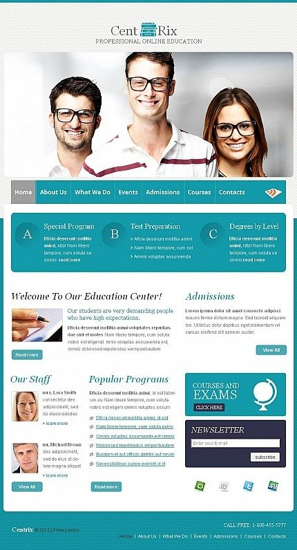 Career Education Facebook HTML CMS Template Facebook Screenshot