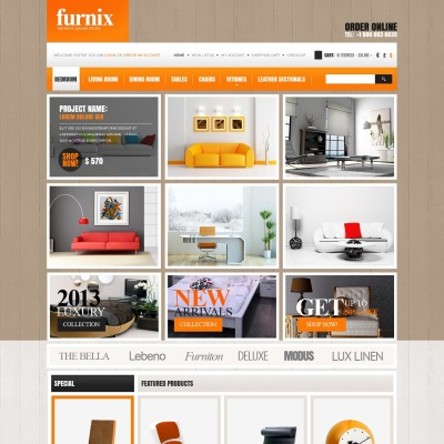 opencart bookstore template - furniture opencart templates