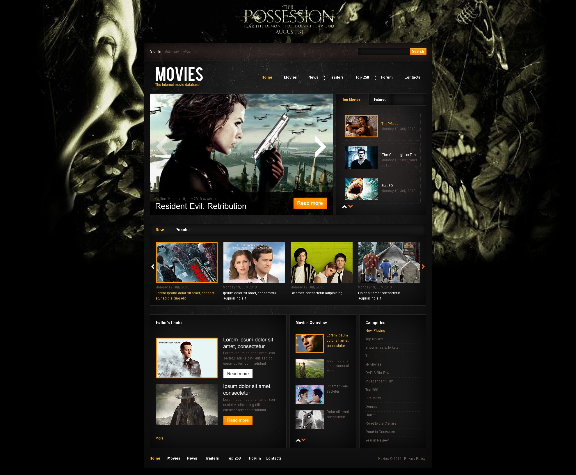 """Internet Movie Database"" Drupal模板 #44056 - 截图"