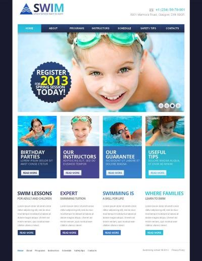 Modèle Moto CMS HTML  pour site de natation