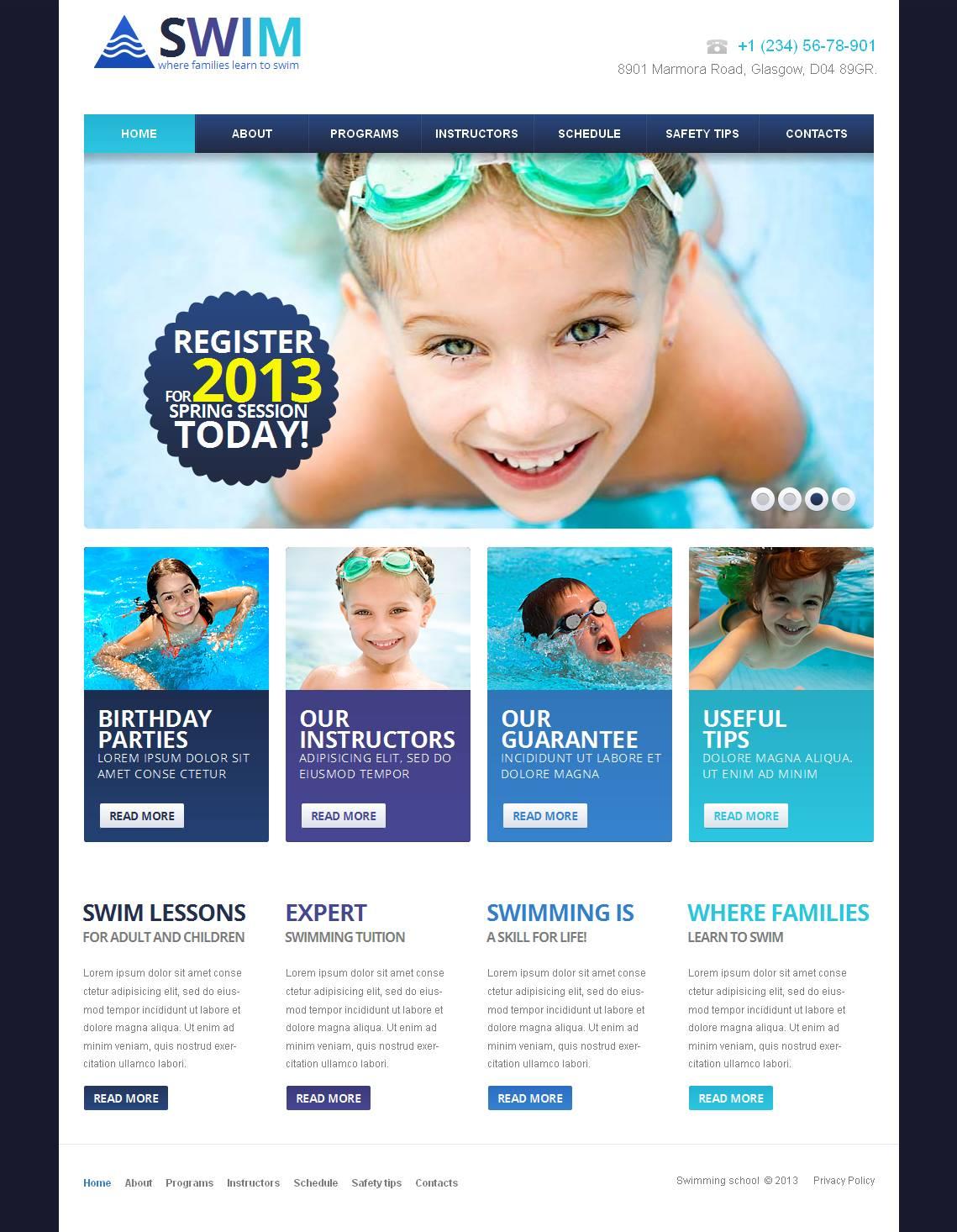 Swimming Moto CMS HTML Template