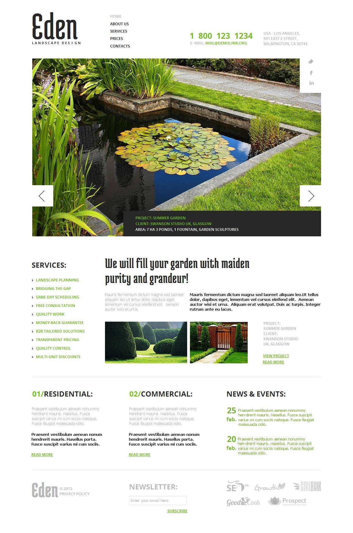 Szablon Moto CMS HTML #44074 na temat: projektowanie ogrodów