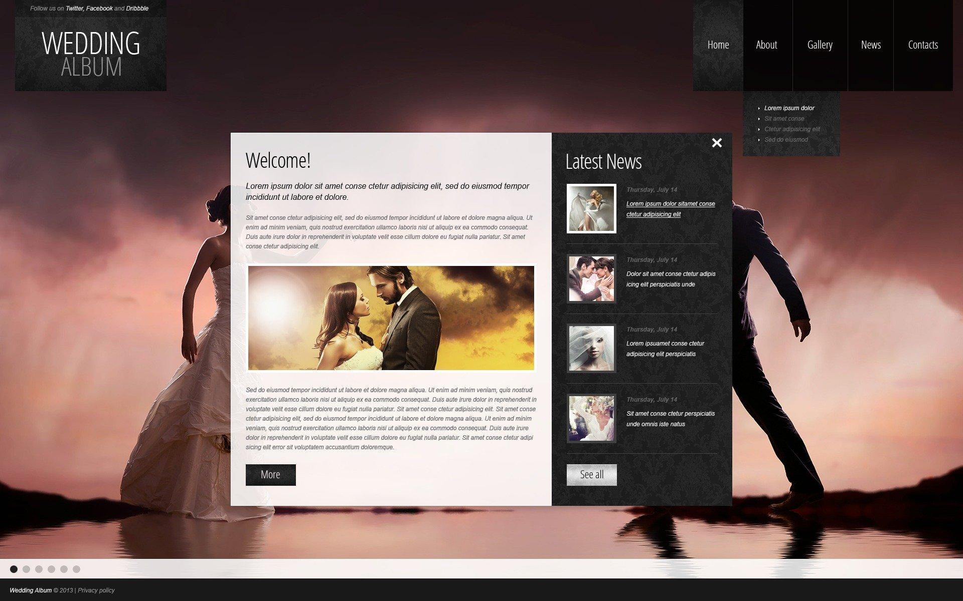Wedding Album Website Template #44007