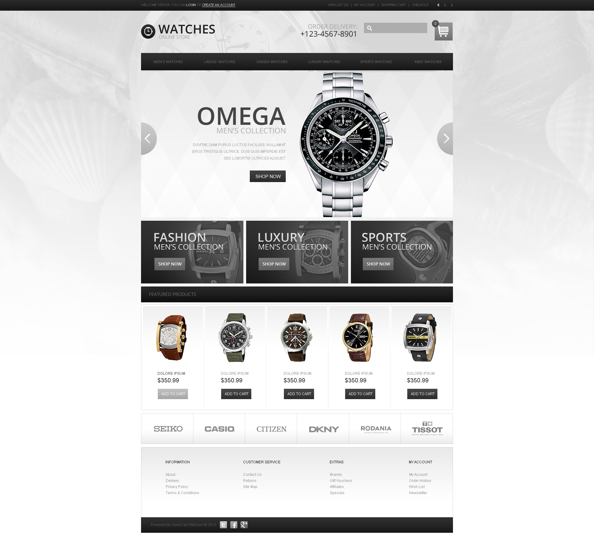 Wrist Watches Store OpenCart Template #44054