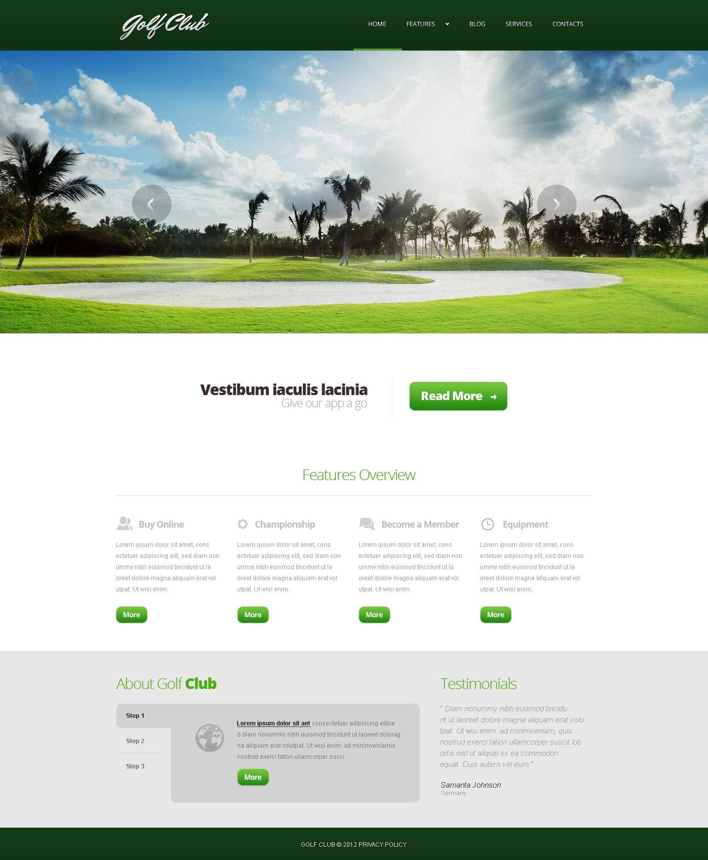 Адаптивний Joomla шаблон на тему гольф №44163 - скріншот