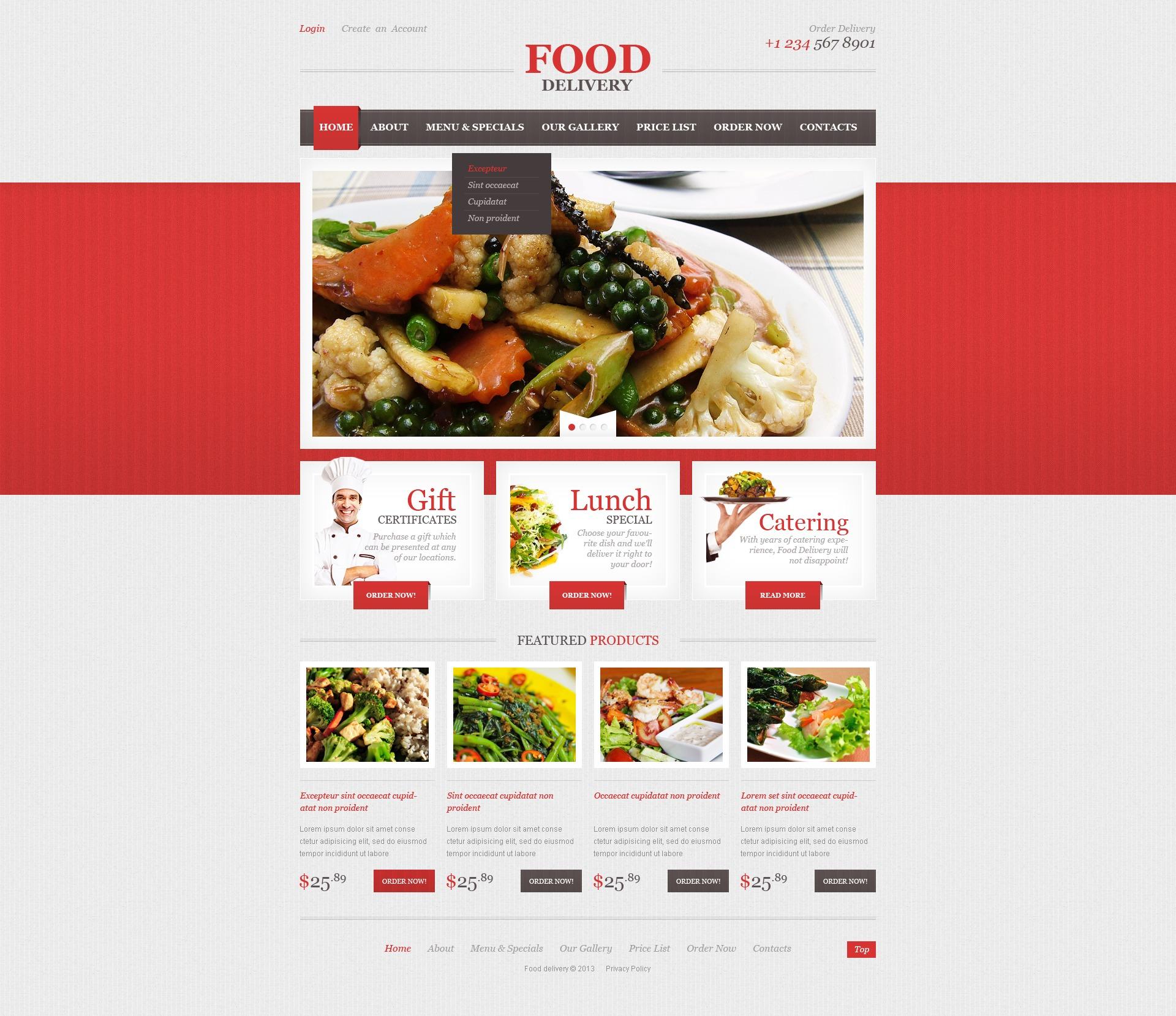 Адаптивний Шаблон сайту на тему громадське харчування №44196