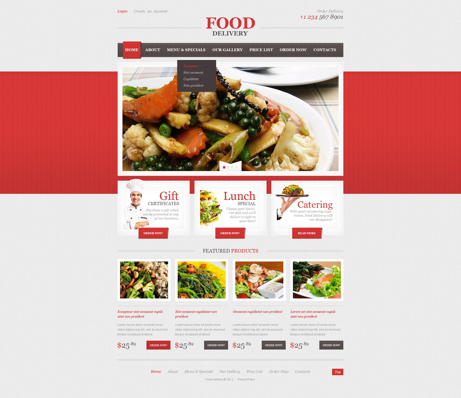 catering menus templates - catering responsive website template 44196