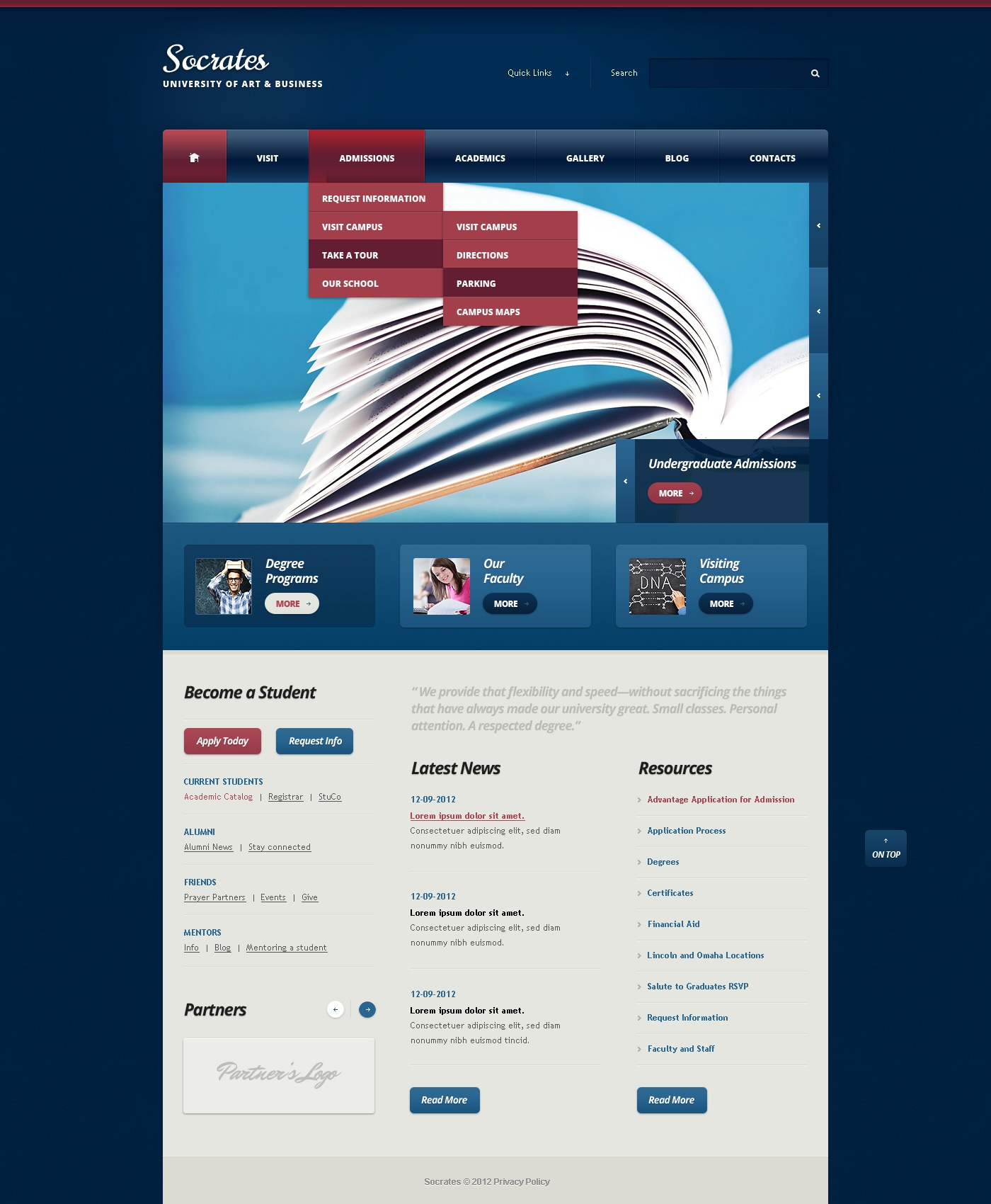 Dark Blue University Drupal Template