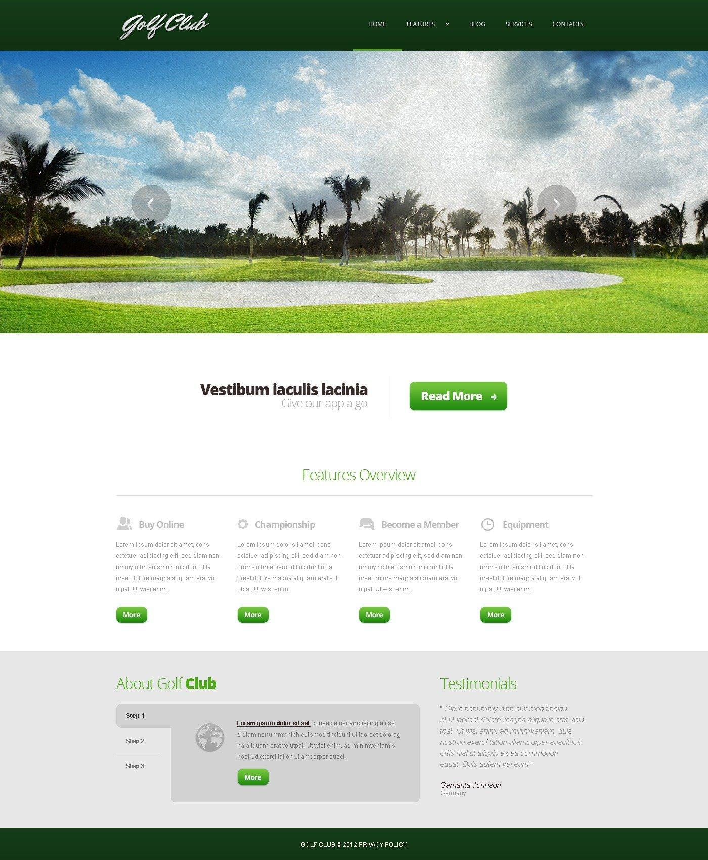 Golf Responsive Joomla Template - screenshot