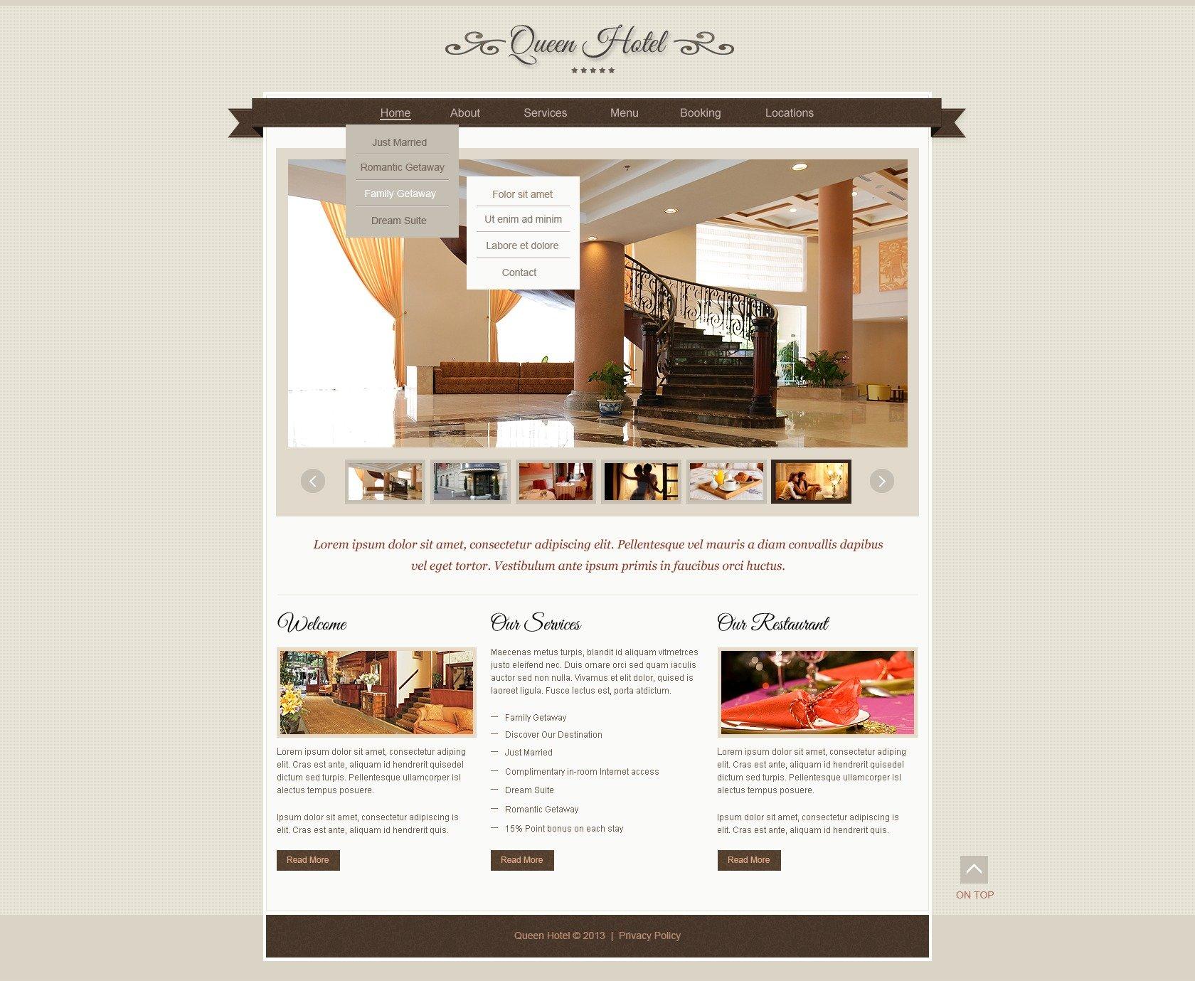Modèle Web adaptatif pour site d'hôtel #44197 - screenshot