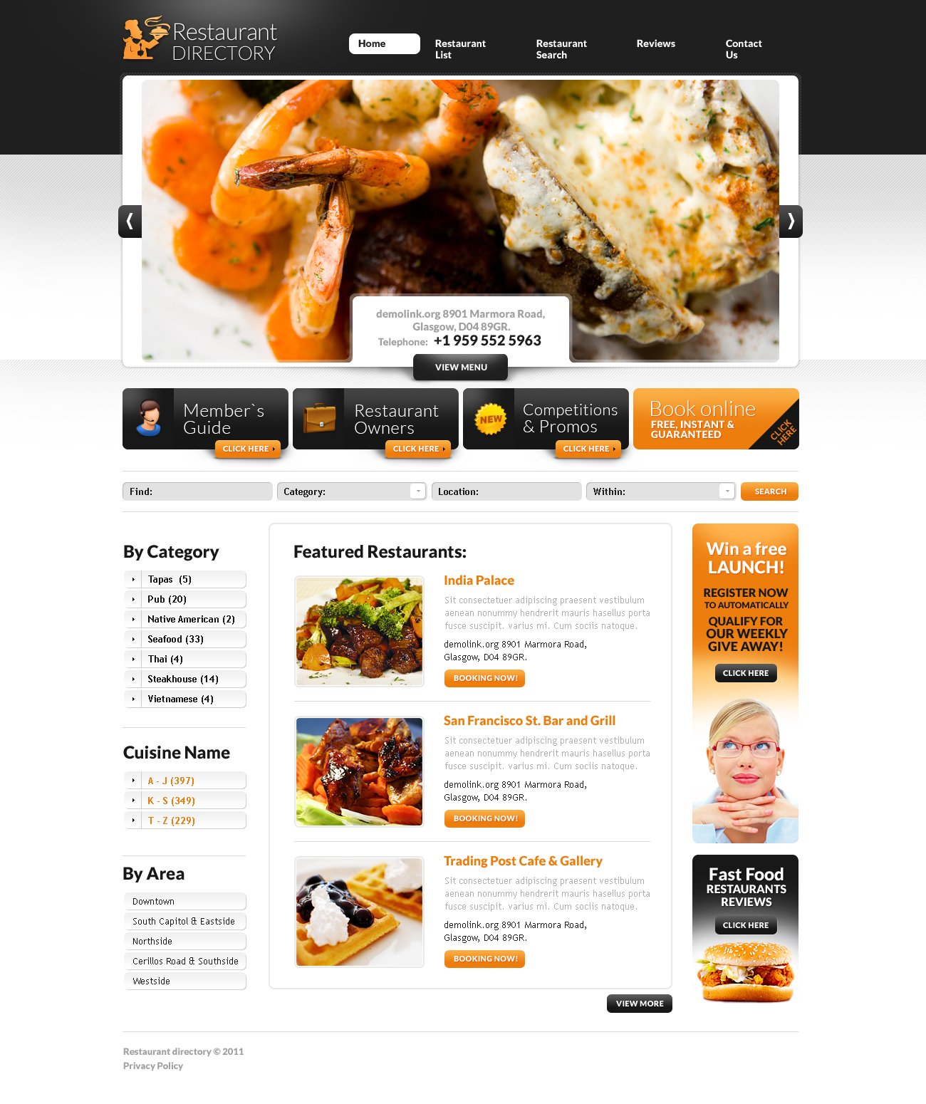 Restaurant reviews flash cms template